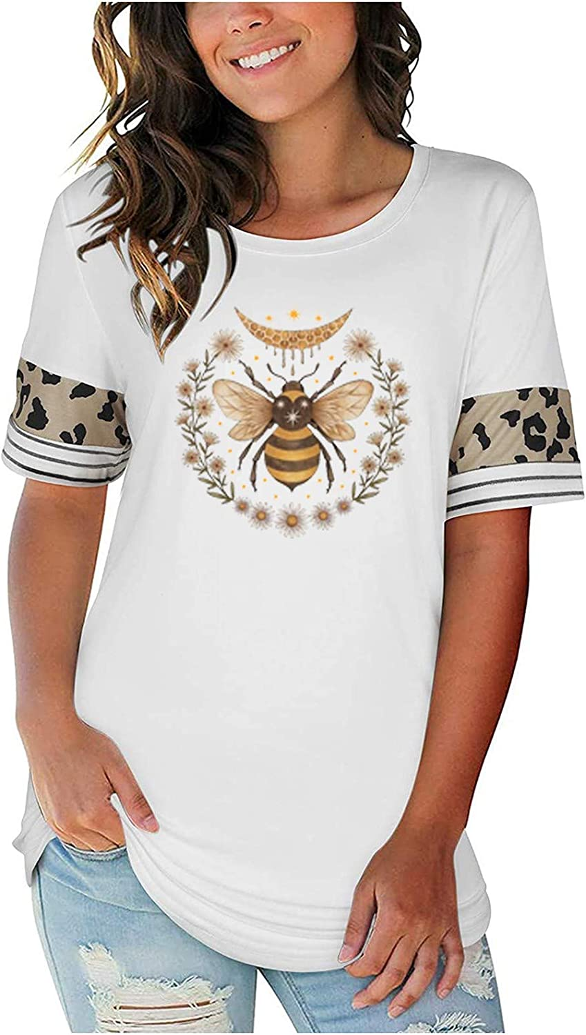 free shipping Womens Gorgeous Print T Shirts Graphic Casual Short Loose Crewneck Sleeve