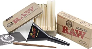 Bundle 3 Items: Raw Kings Size Cones 15 Count Raw Cone Loader Raw Metal Tin