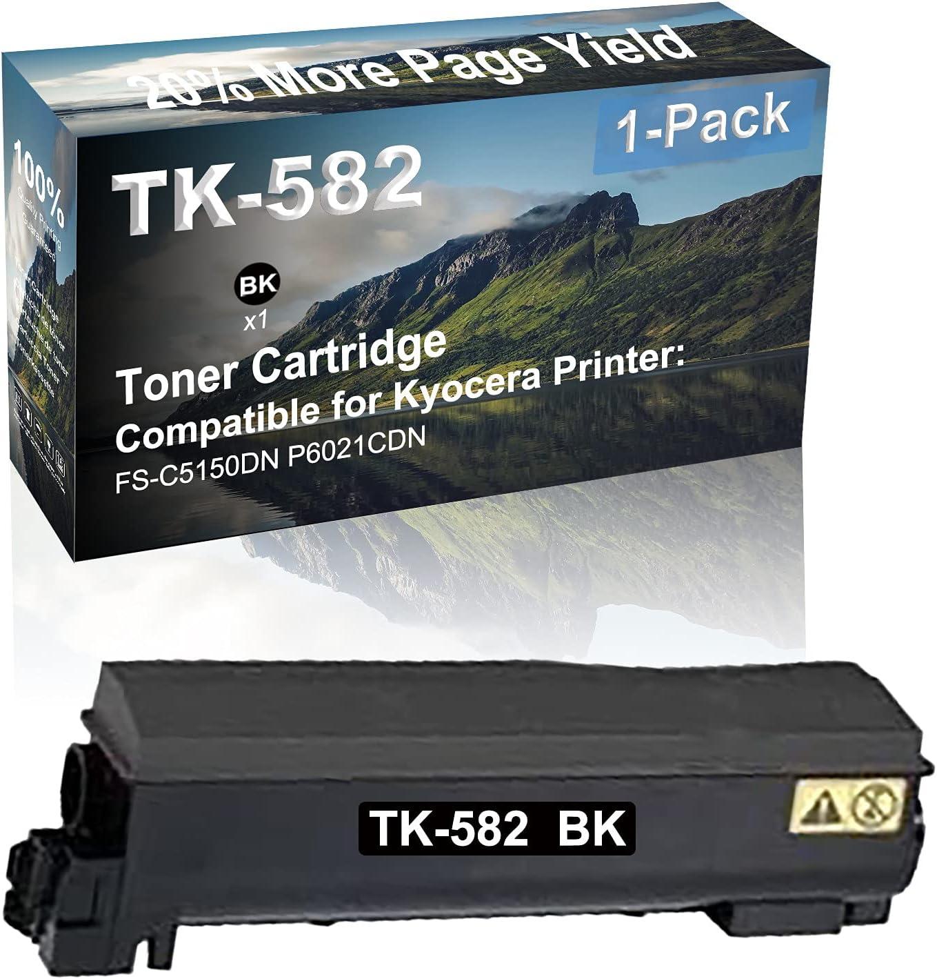 1-Pack (Black) Compatible FS-C5150DN P6021CDN Printer Toner Cartridge High Capacity Replacement for Kyocera (TK-582BK) TK582 Toner Cartridge