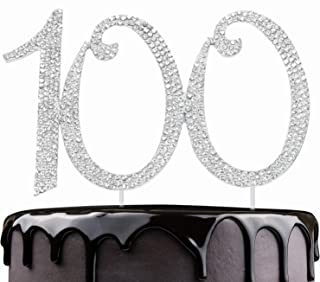 LINGPAR 100 Years Birthday Cake Topper - New Best Crystal Rhinestone 100th Wedding Anniversary Or 100 Years Old Cake Topper Party Decoration Silver