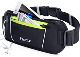 FREETOO Running Belt, Running Waist Pack Bounce Free Waist Pouch Exercise Workout Belt for Women&Men, Ideal for Apple iPhone 8/7/6s/6 (Black&Green)
