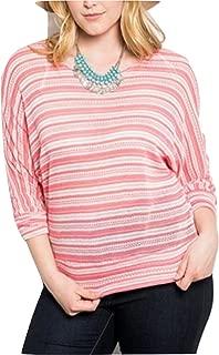 Womens Crochet Knit Top Plus Size Scoop Neck Sheer Striped Dolman Sleeves