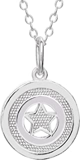 """Offically Licensed Jewelry for Women and Girls Captain America Superhero Logo Sterling Silver Pendant Necklace, 18""""Chain"""