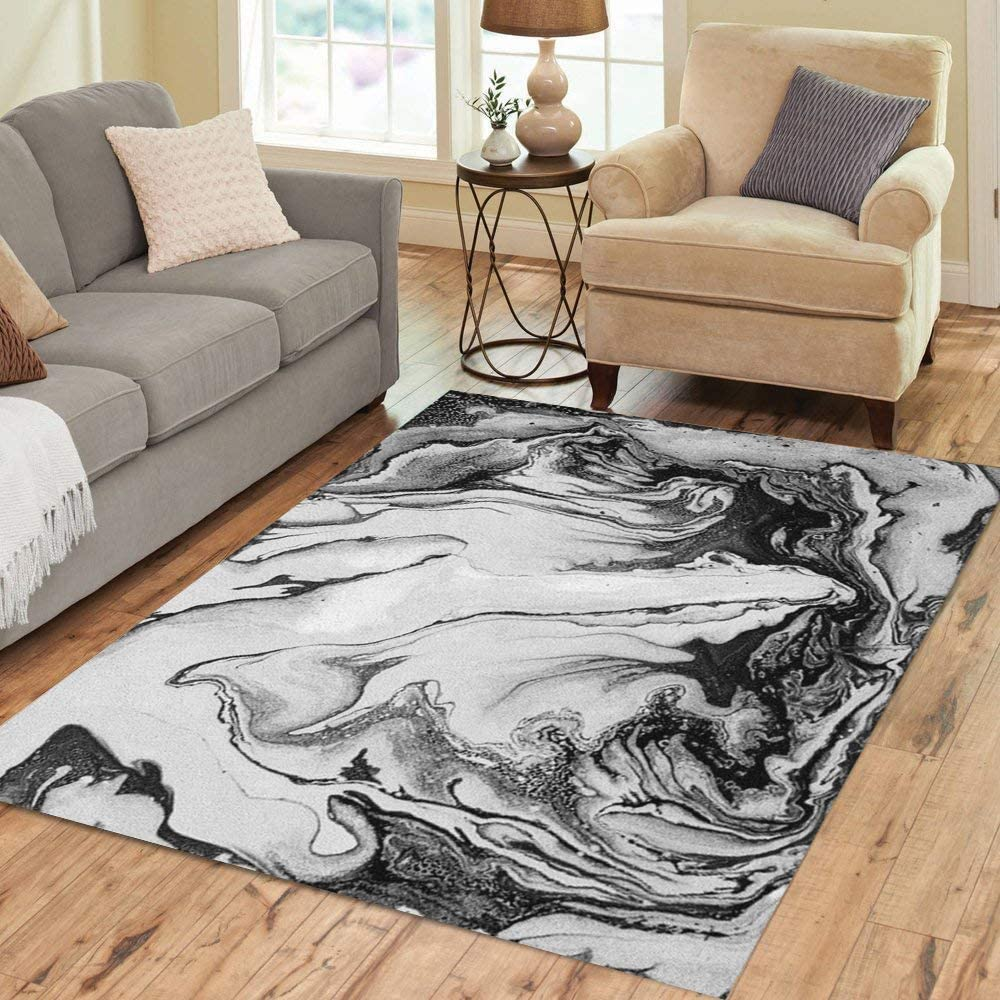 Pinbeam Area Rug Gray Marble Abstract Black White and Art Modern Latest Choice item