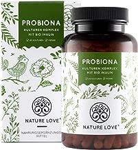 NATURE LOVE® Probiona Kulturen Komplex - 20 Bakterienkulturen + Bio Inulin. 20 Mrd KBE je Tagesdosis - 180 magensaftresistente Kapseln. U.a. Lactobacillus, Bifidobacterium. Vegan, Made in Germany