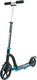 HUDORA 2986095101 Alu 20 cm storhjul djärv kudde Big Wheel City Scooter trettrulle med stötdämpning, turkos/svart, one size