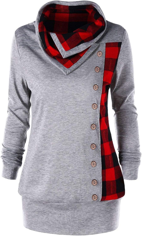 Cowl Neck Tunic Sweatshirts Regular dealer for Women Button Pul Plaid Gifts Patchwork