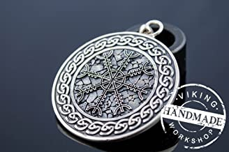 Helm of Awe Symbol with Viking Ornament Pendant Sterling Silver Pagan Jewelry