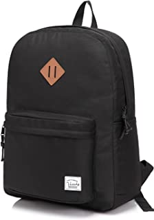 Vaschy Lightweight Backpack,20 Liters Basic Waterproof Foldable Travel Daypack for Sports Hiking,Middle School Book Bag with Two Bottle Pockets Black