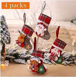 XMYIFOR 4 pcs Christmas Stockings Kits Xmas Socks Tree Ornament Decoration Party Holiday Christmas Santa Claus Home Decor Gift