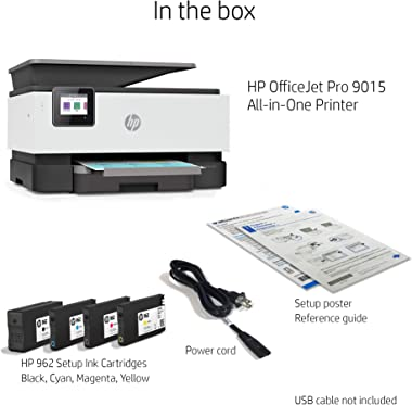 HP OfficeJet Pro 9015 All-in-One Wireless Printer, with Smart Home Office Productivity, HP Instant Ink, Works with Alexa (1KR
