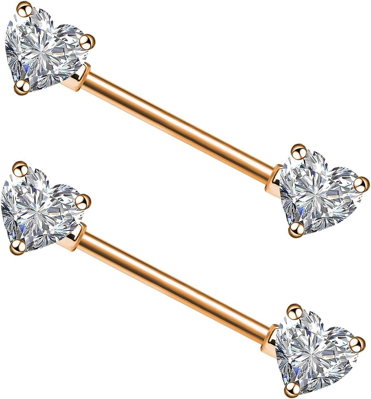 CHARMM 2PCS Surgical Steel Nipple Rings Barbell Heart 14G CZ Nipple Rings Piercing for Women Men Nippleshield Piercing Body Piercing