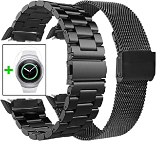 CAGOS Gear S2 Bands Sets, 2 Pack Metal Band+ Mesh Loop Bracelet Strap for Gear S2 Sport Smart Watch SM-R720/R730 (Metal+Mesh Black Small)