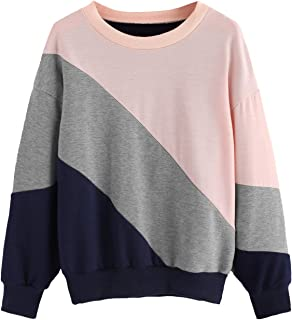 MAKEMECHIC Women's Color Block Cut and Sew Panel Long Sleeve Sweatshirt