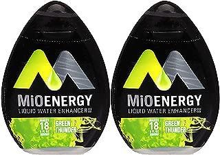MiO Liquid Water Enhancer - makes 24 servings + Vitamins, 1.62 oz each, (Green Thunder, Pack of 2)
