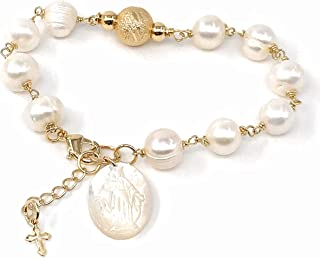 Miraculous Medal adjustable Cultured Pearl Bracelet Virgen de La Milagrosa