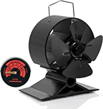 G G-WEI 4-Blade Fireplace Fan, Eco-Friendly Heat Powered Stove Fan for Wood/Log Burner/Fireplace, Efficient Heat Distribution Fireplace Wood Burning Fan with Free Magnetic Thermometer (2019 Designed)