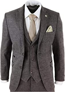 Surprise S 2020 Brown Mens Suits Wool 3 Piece Check Costume Homme Tweed Tailored Fit Peaky Blinders Gatsby 1920S Suit