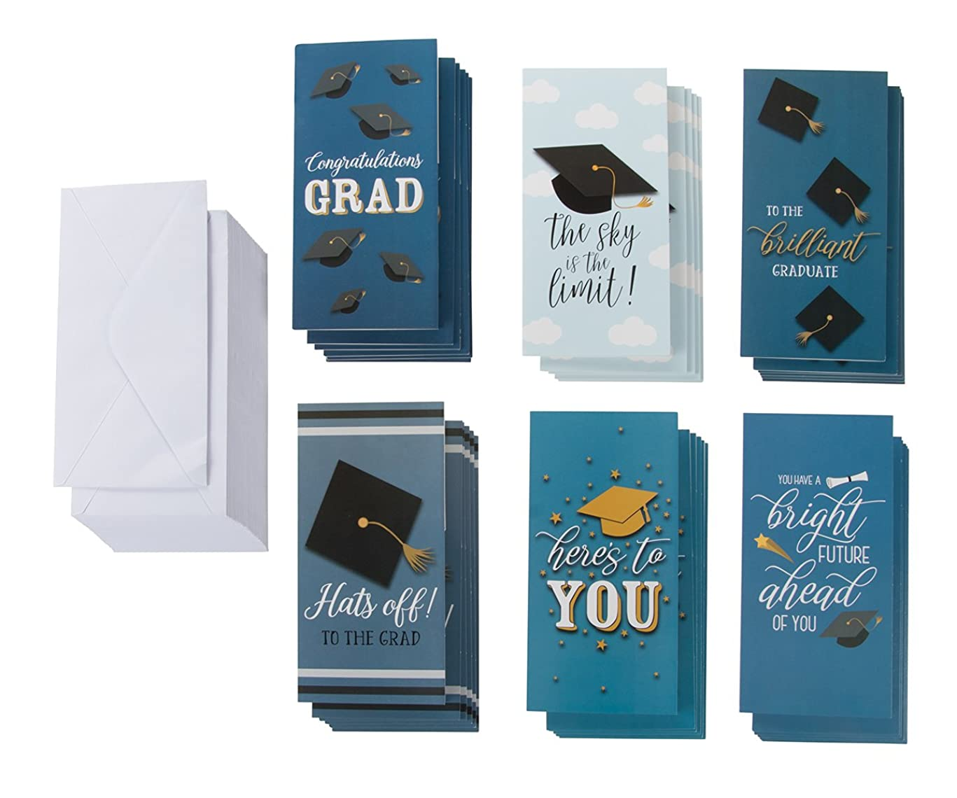 36-Pack Graduation Cards – Money Cards, 6 Designs, Money Gift Card Holder Ideal for High School, College and More, Graduation Party Favors, Envelopes Included, 3.5 x 7.25 Inches