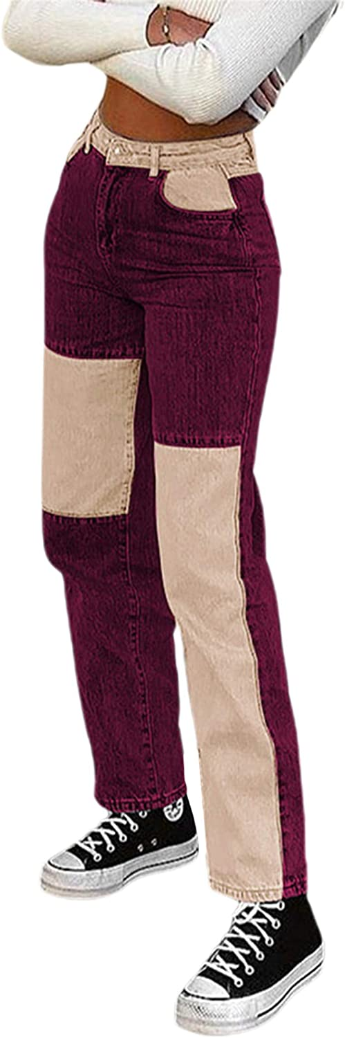 Anmio Women's Patchwork Pants High Waist Corduroy Color Manufacturer regenerated Seattle Mall product Contrast