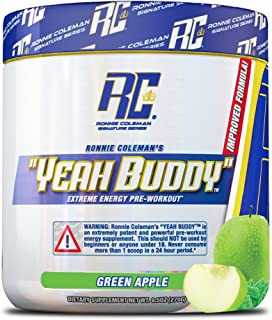 YEAH BUDDY PRE WORKOUT – Extreme Non Crash Sustained Energy Preworkout & Nitric Oxide Supplement with Extended Release Caf...