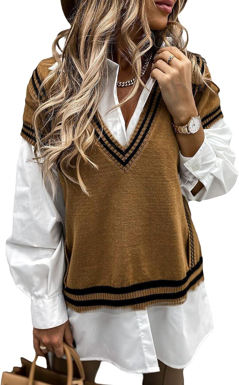 Sidefeel Women's Preppy Style Knitwear Tank Top Sleeveless V-Neck Vintage Sweater Vest