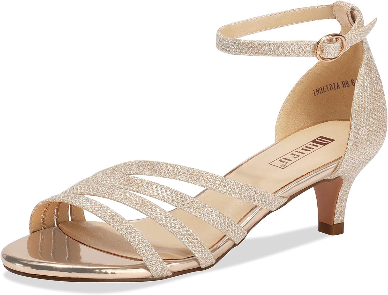IDIFU Women's Low Kitten Strappy Sandals Open Toe Max 70% OFF St Ankle Minneapolis Mall Heels