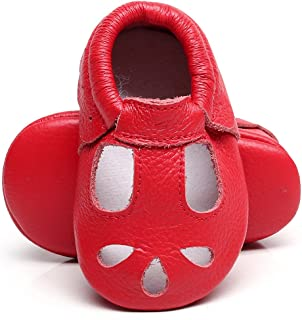 Baby Girls Boys Shoes Mary Jane Sandals Soft Sole T-Strap Leather Baby Moccasins Toddler Shoes