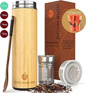 DOUNGURI Bamboo Tea Tumbler Mug with Strainer Infuser – 18 oz Vacuum Insulated..