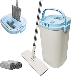 EZ SPARES Mop and Bucket with Wringer Set,Floor Cleaning Mop Self Wringing,Microfiber Hardwood Mop,Wet/Dry Pads,Stainless Steel Handle,Hands-Free for Home and Office Wet or Dry Floor Tile Cleaning