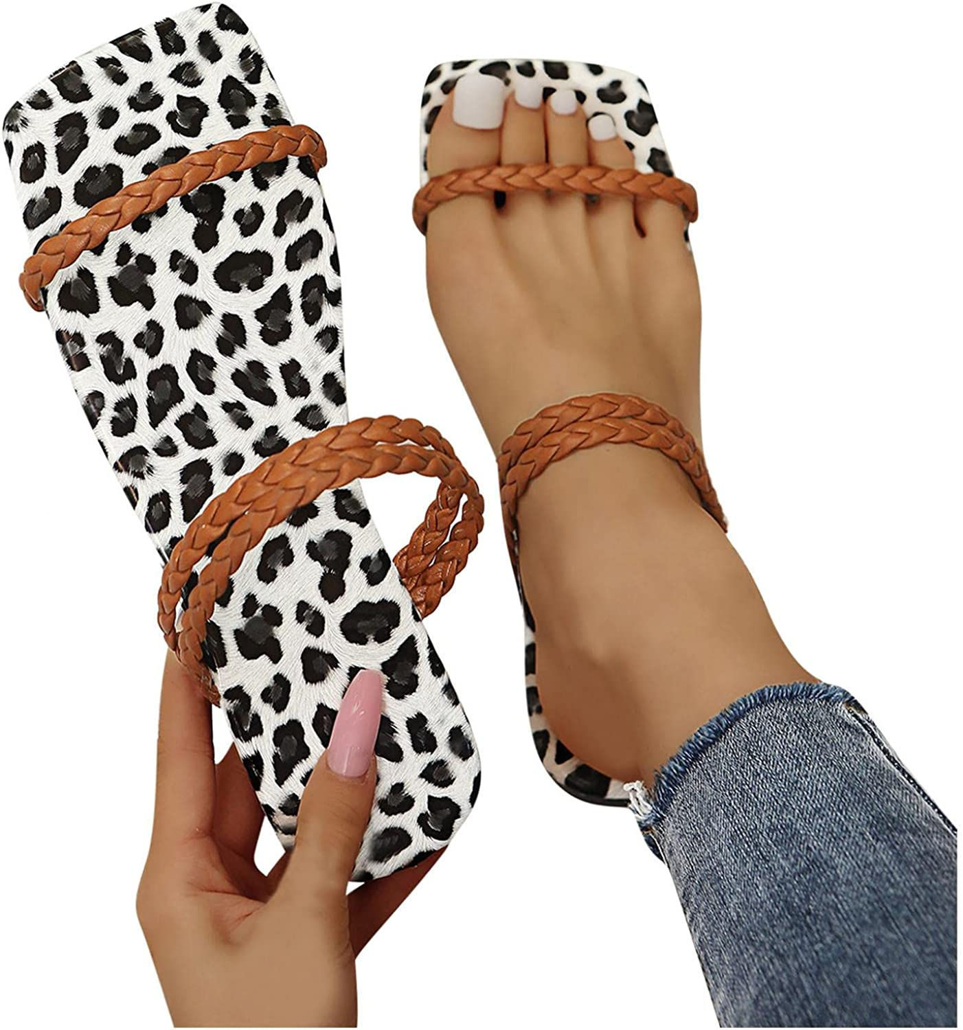 Jacksonville Mall Hunauoo Slippers for Women Flat Home Be Leopard Long Beach Mall Printed