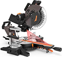TACKLIFE Sliding Compound Miter Saw 12-Inch, 1700W, 3800rpm, Double-Bevel Cut (-45°-0°-45°)with Laser Guide, Extensible Table, Dust Bag, 40T 305mm Blade for Wood Cut - PMS03A