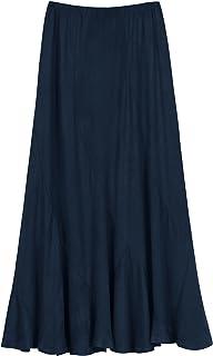 Urban Coco Women's Vintage Elastic Waist A-Line Long Midi Skirt (XL Indigo Blue)