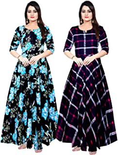 Khushi Print Women's Maxi Dress (Pack of 2) (ComboFR_9249_Multicolored_Free Size)