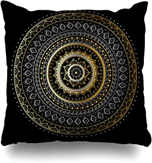 Pandarllin Throw Pillow Cover Pattern Silver Sun Vintage Indian Abstract Art Tattoo Circle Lace Flower Lotus Design Copper Cushion Case Home Decor Design Square Size 18 x 18 Inches Pillowcase