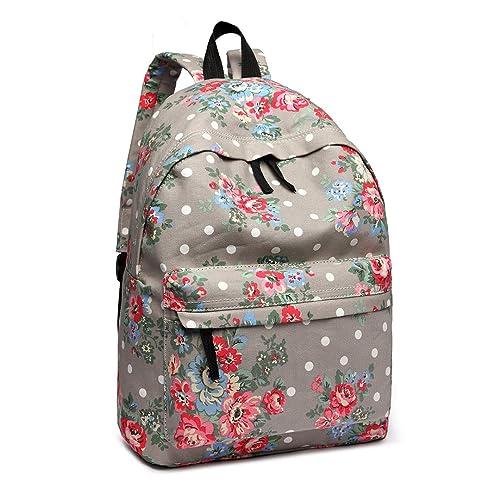 Miss Lulu School Backpacks Canvas Bookbag Cute Printed Leisure Backpack for Teenage Girls