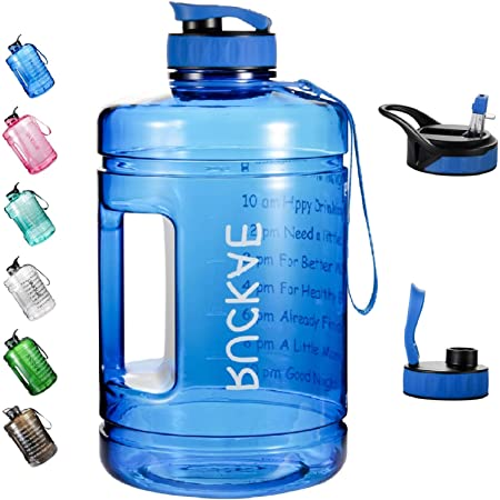 1 Gallon//128oz Motivational Sport Water Bottle with Time Marker