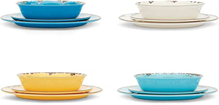 Fox Run 48734 Unbreakable Melamine Durable Dinnerware Set, 12-Pieces, Multicolor