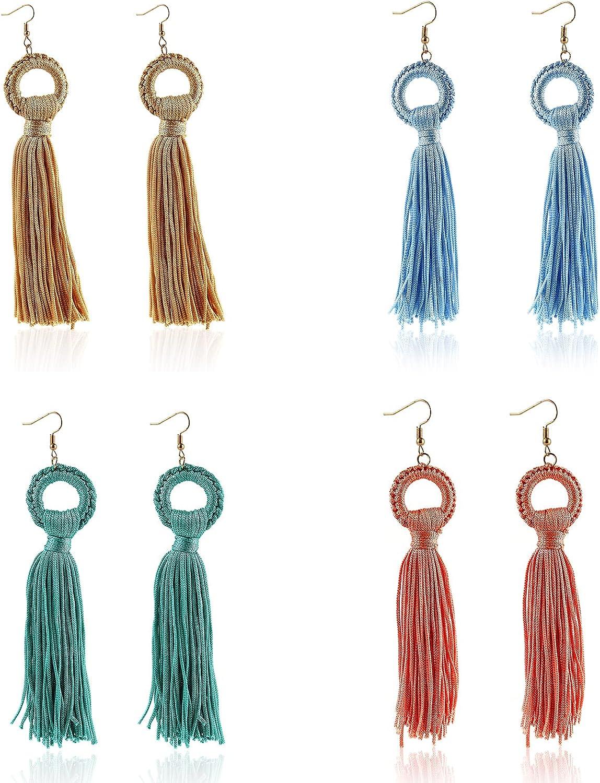 4 Boston Mall Pairs Cheap sale Bohemian Handmade Long Dangle Earrings Boho Drop Tassel
