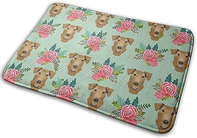 """Airedale Terrier Floral Cute Dog Pattern Mint_27265 Doormat Entrance Mat Floor Mat Rug Indoor/Outdoor/Front Door/Bathroom Mats Rubber Non Slip 23.6"""" X 15.8"""""""