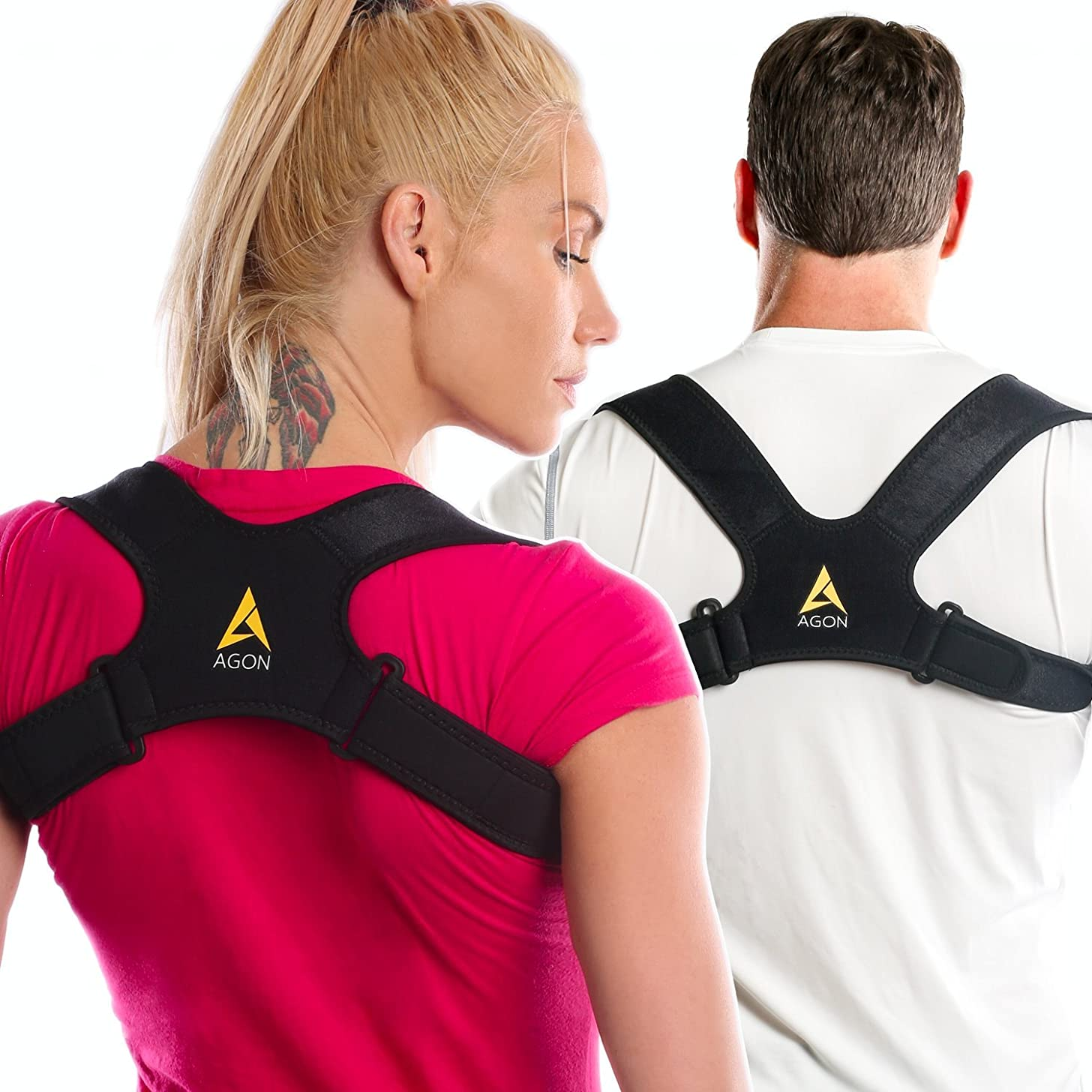 Agon? Posture Corrector Clavicle Brace Support Strap, Posture Brace Medical Device to Improve Bad Posture, Thoracic Kyphosis, Shoulder Alignment Upper Back Pain Relief for Men and Women