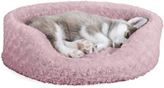 Furhaven Pet Dog Bed | Round Oval Cuddler Ultra Plush Faux Fur Nest Lounger Pet Bed for Dogs & Cats, Pink, Medium
