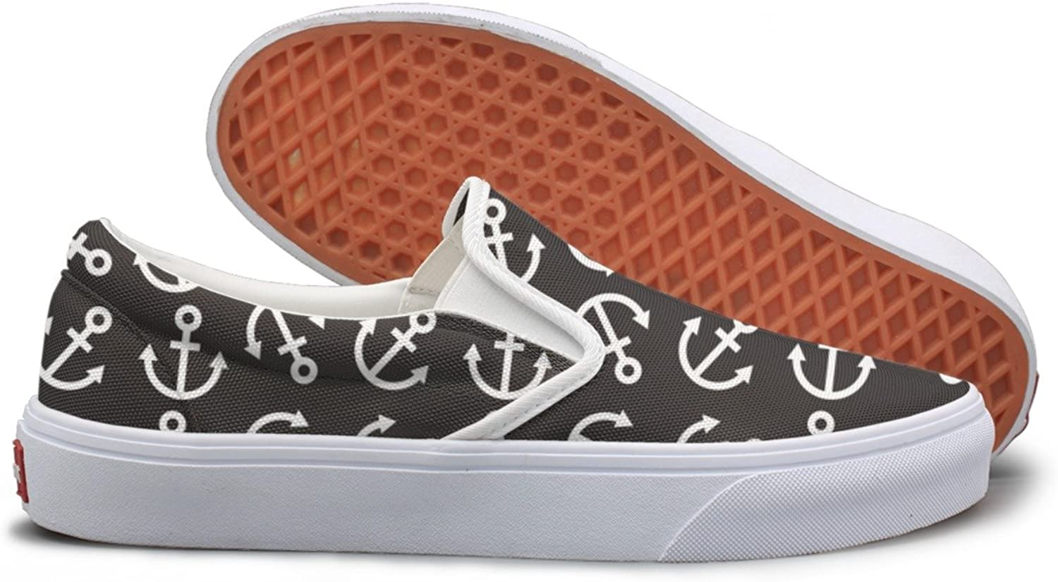 SEERTED Naval Sea Anchors Black Slip On Canvas shoes for Women