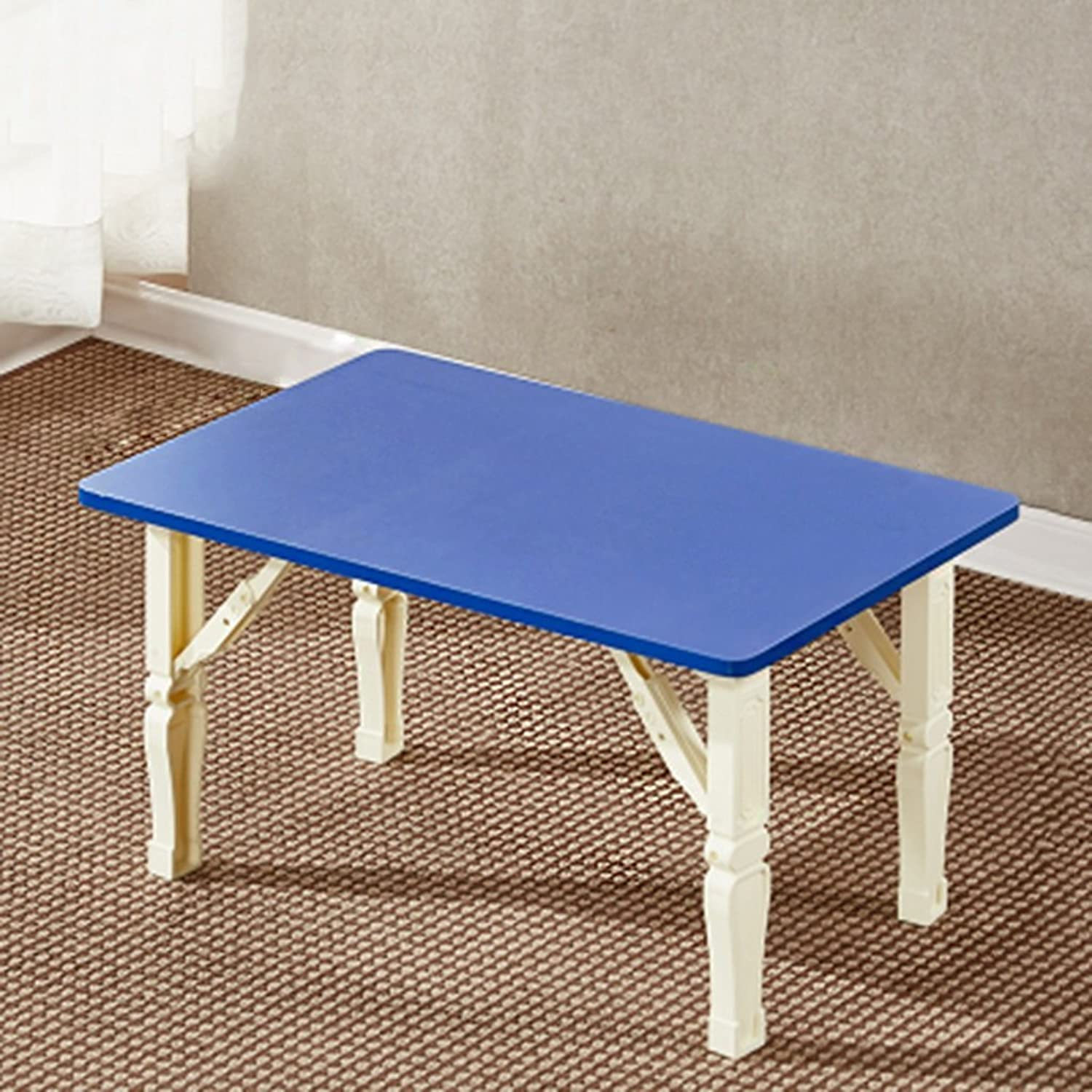 Chuangshengnet Laptop Table Collapsible Lazy Dormitory Desk Shelf (color   bluee)