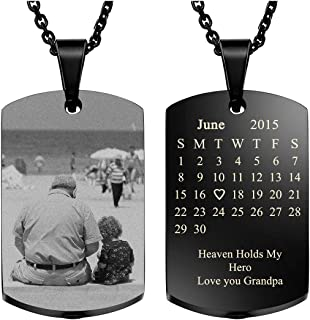 Custom Special Date Calendar/Photo/Text Necklace,Military Dog Tag Pendant Urn Necklace for Ashes Memorial Keepsake Cremation Jewelry