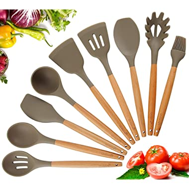 Kitchen Utensil Set Silicone Cooking Utensils,9 Pieces Cooking Tool BPA Free Non Toxic Silicone Turner Tongs Spatula Spoon Kitchen Gadgets Utensil Set for Nonstick Cookware,Best Kitchen Tools Gift