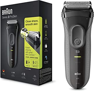 Braun Series 3 ProSkin 3000s Electric Shaver Rechargeable and Cordless Electric Razor for Men Black, 2 Pin Plug,