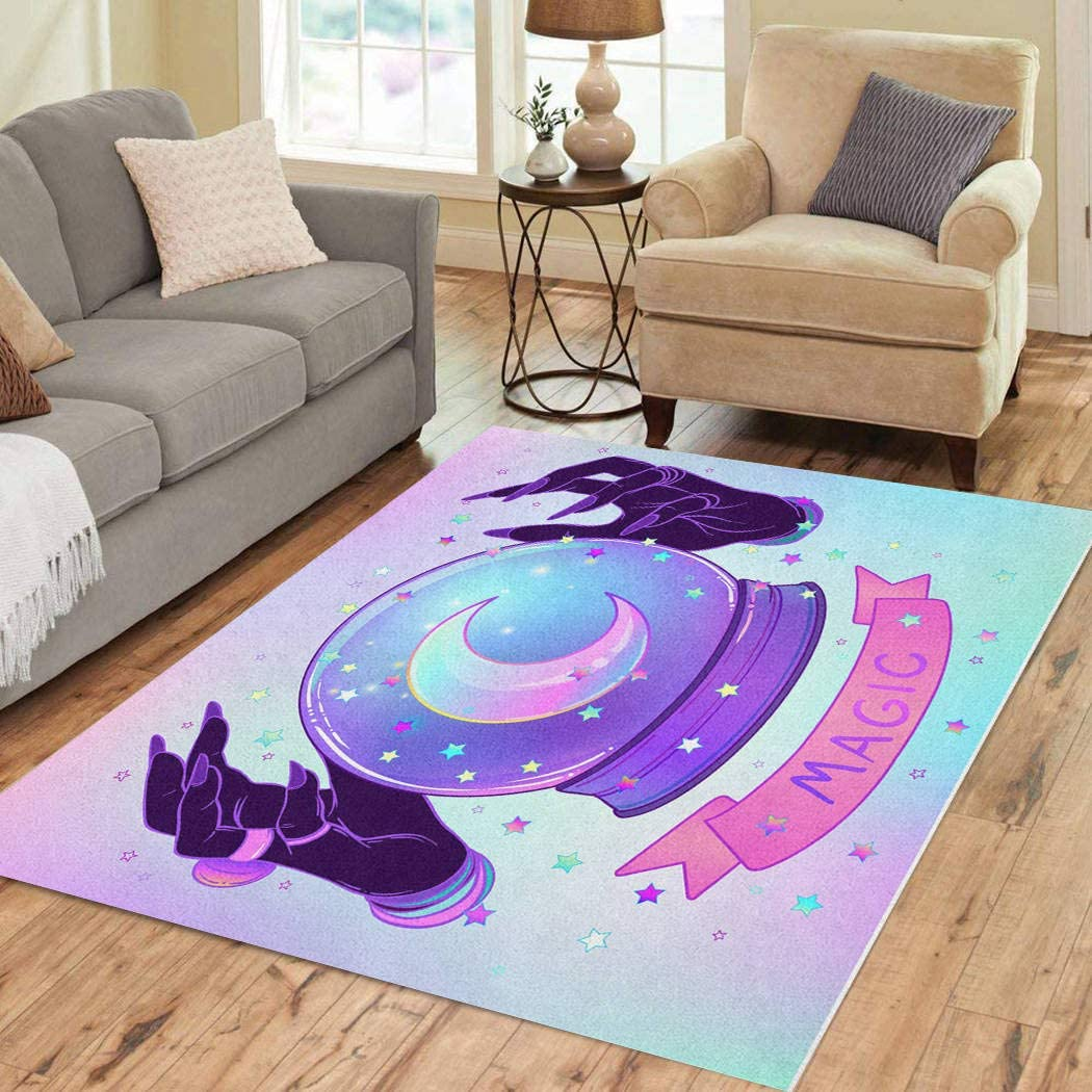 Vooft Area Rugs 2'x3' OUTLET SALE Crystal Ball Hands 商店 Alien Purple Female Ove
