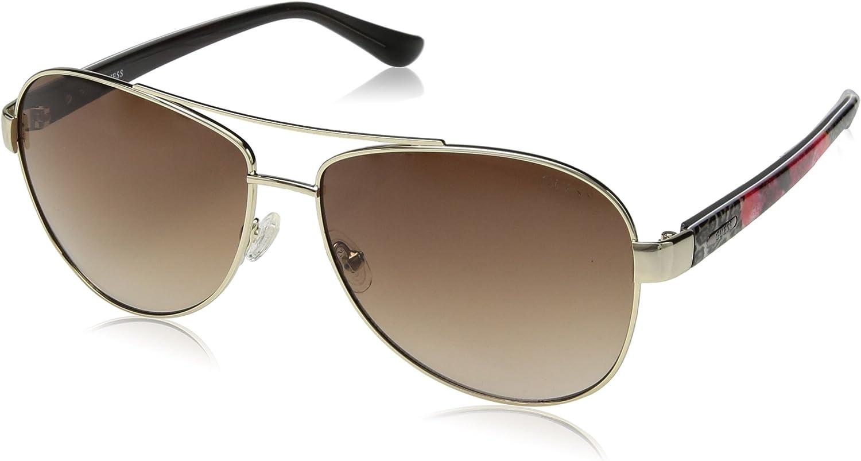 GUESS Women's Metal Aviator Sunglasses, 32F, 60 mm