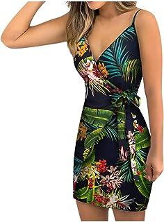 N-B Vestido Mujer Verano 2021 Fiesta Tirantes Casual Elegantes Sexy Dibujos de Floral Playa Cortas Talla Grande Originales...